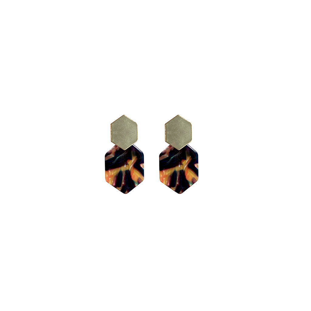 west carolina gold and tortoiseshell geometric earrings statement bold colourful good quality fashion accessories