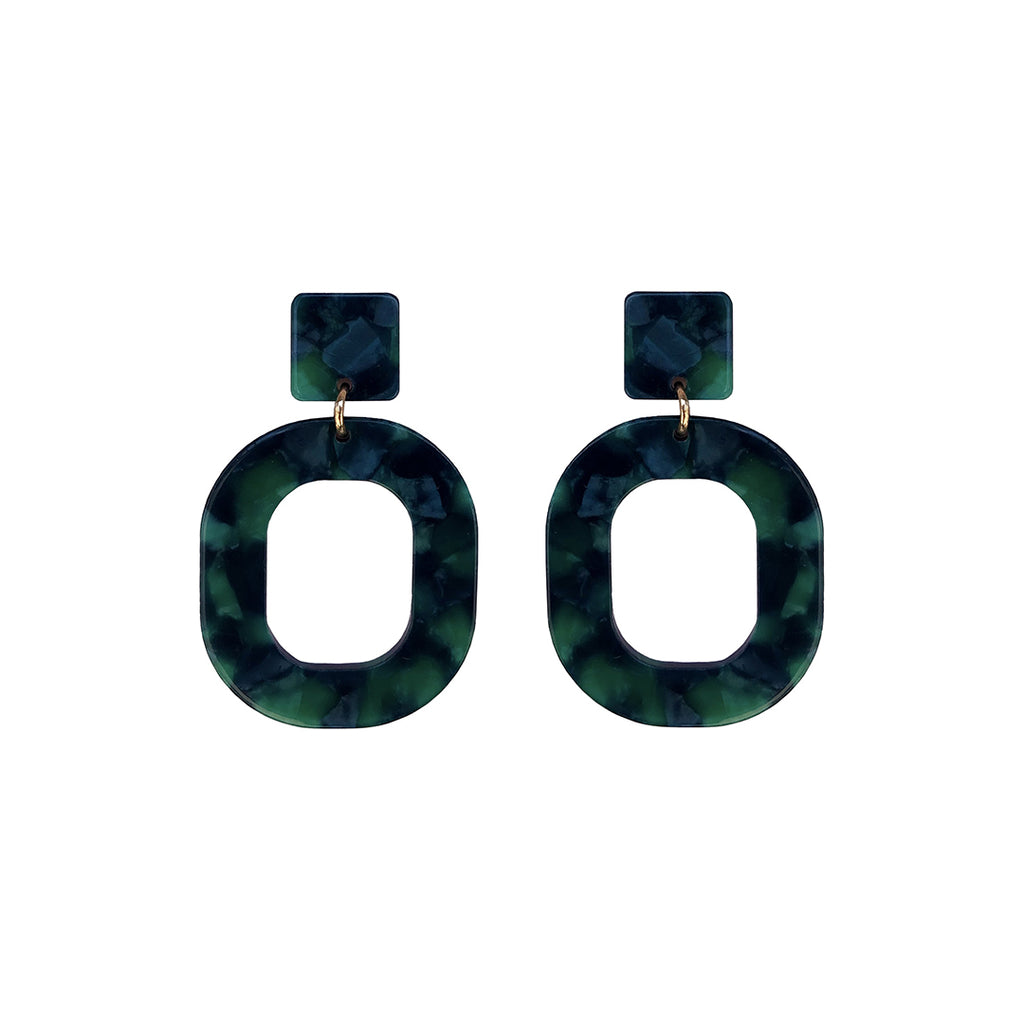 west carolina green square oval earrings statement bold colourful good quality fashion accessories