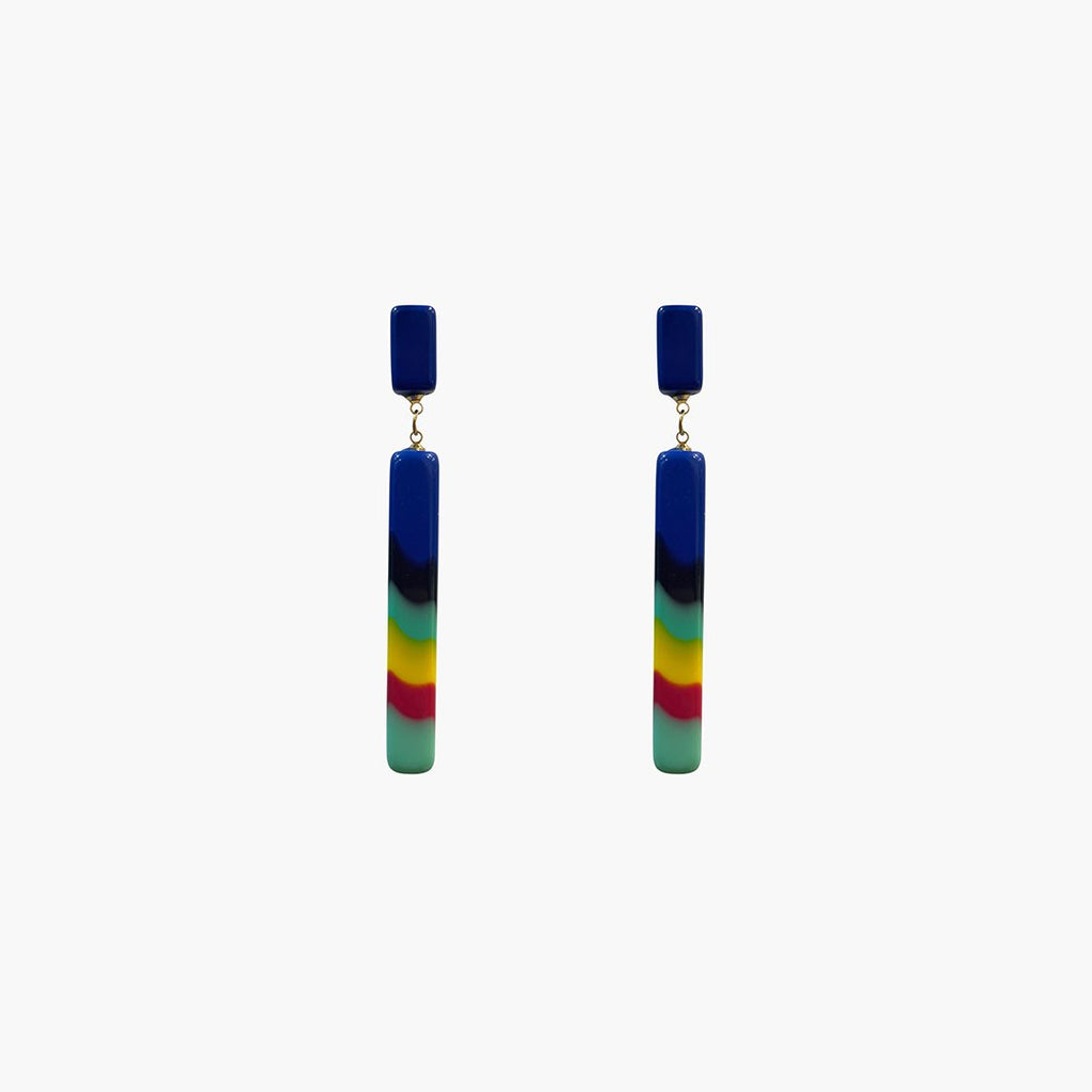 west carolina multicolour rectangular statement earrings made out of resin