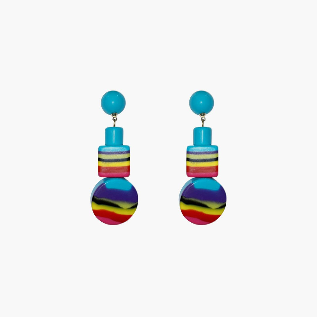 west carolina multicolour shapes statement earrings made out of resin