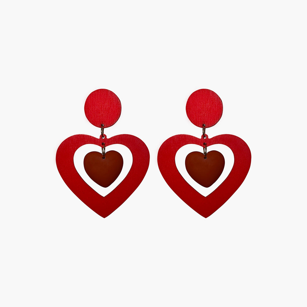 west carolina red double heart drop statement earrings made out of resin