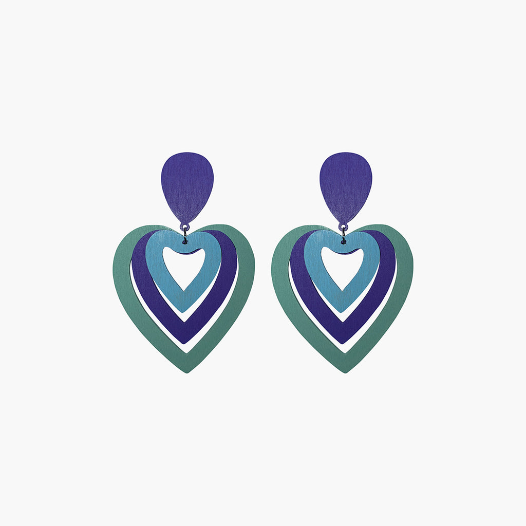 west carolina turquoise and purple hearts statement earrings made out of wood