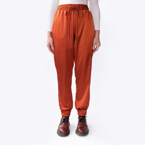 Satin Burnt Orange Manhattan Trousers joggers