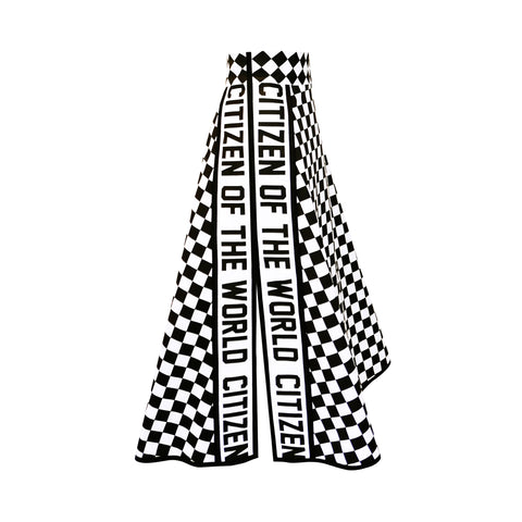 Black and white checkered skirt with printed text side trims