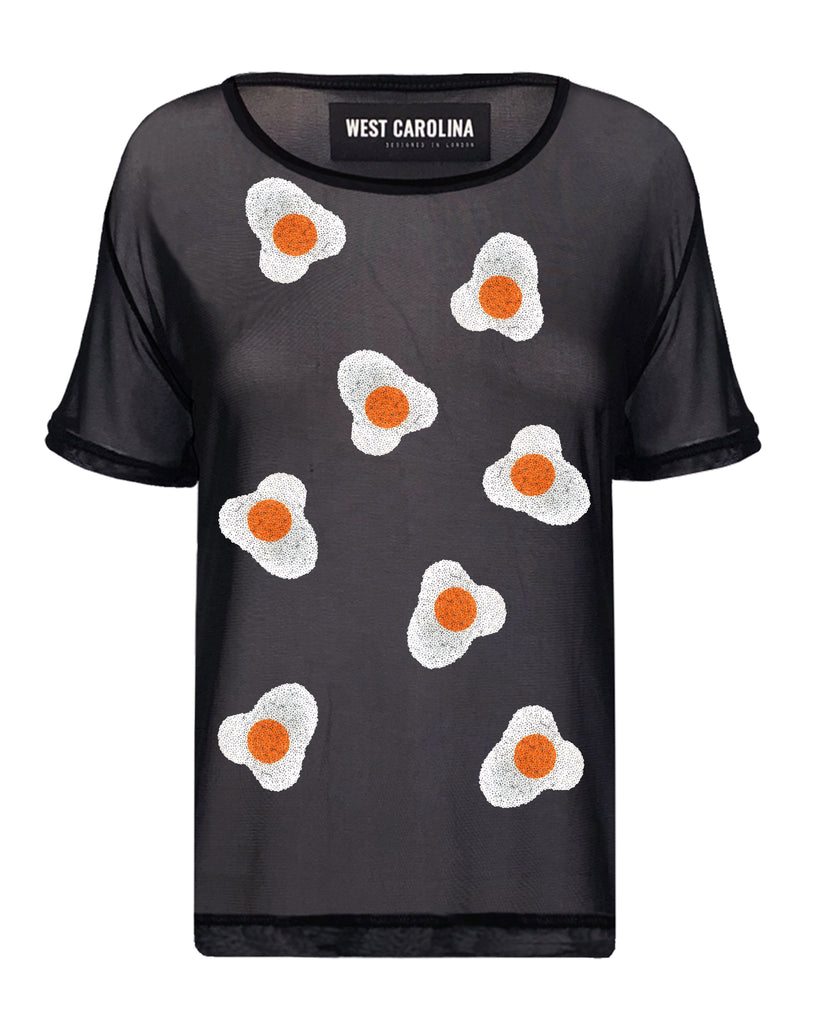 Black nylon mesh top with colourful fried egg sequin motifs