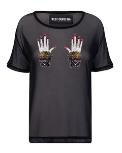 Black nylon mesh top with colourful hands, fries and wifi sequin motif