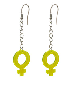 Colourful yellow girl power acrylic piece and silver metal chain earrings