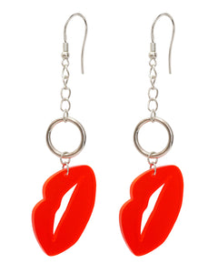 Colourful red lip acrylic piece, silver metal hoop and chain earrings
