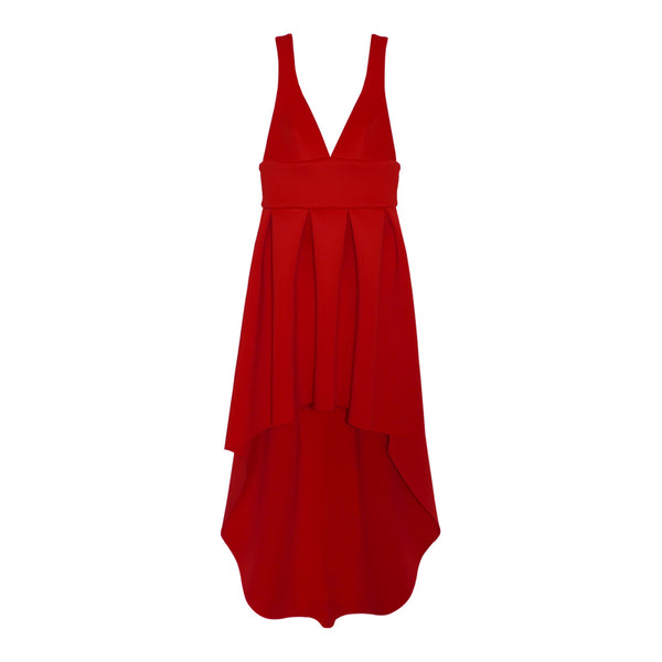 Red voluminous neoprene evening dress