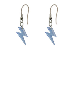 Colourful blue acrylic lightning bolt and silver metal chain earrings