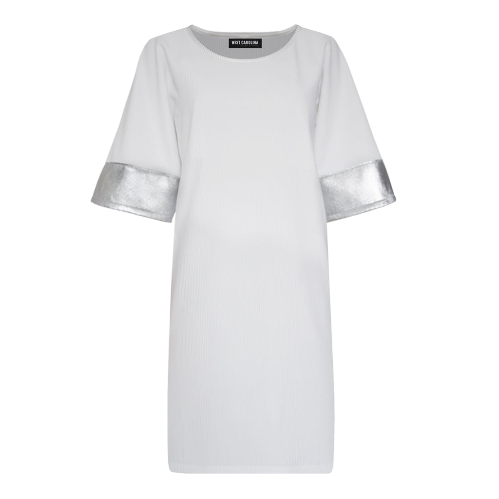 white t-shirt dress silver details metallic sleeves