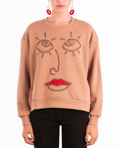 Barcelona beige jumper black red handmade embroidery red lips eyes