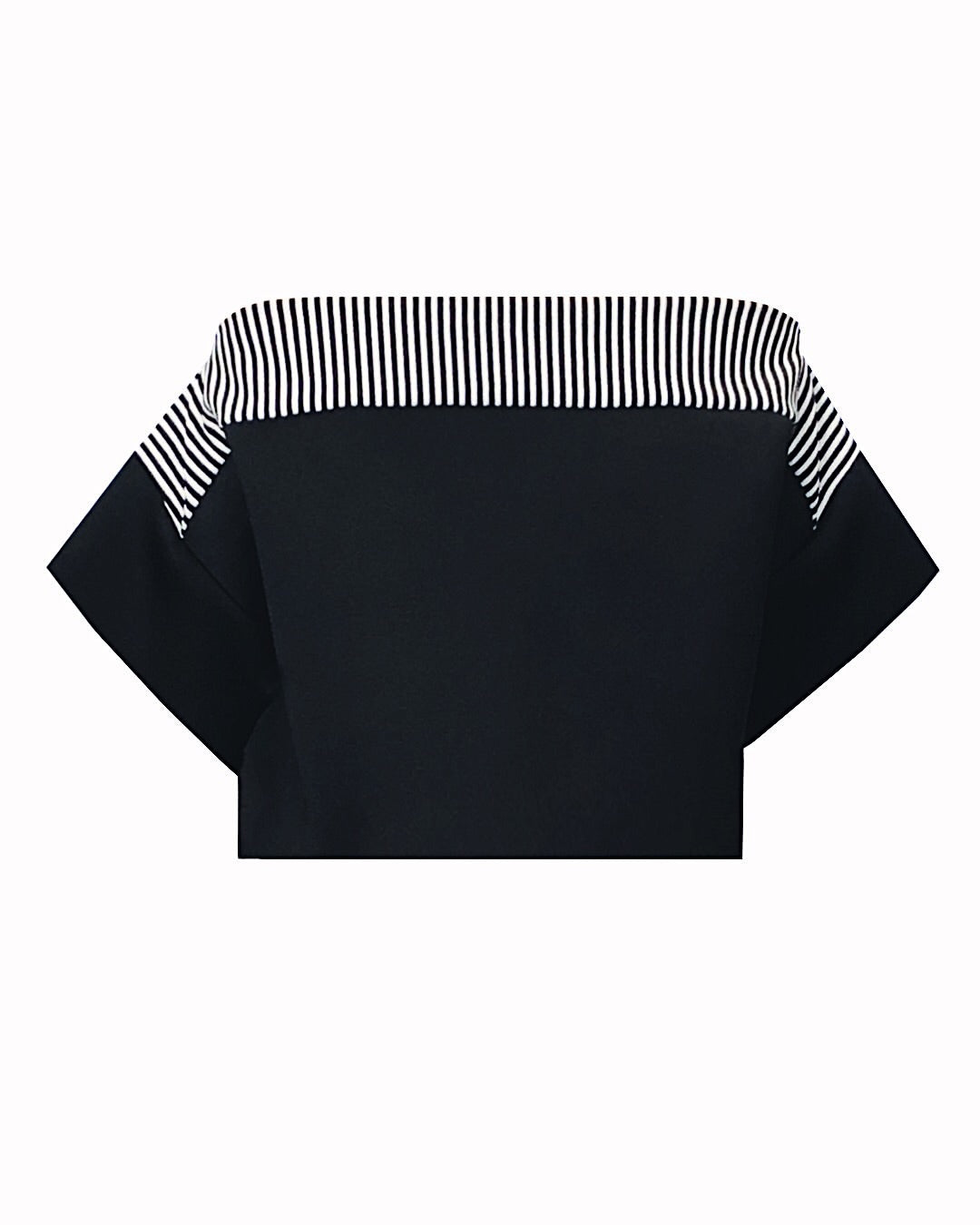 Black top with black and white striped piano effect detail