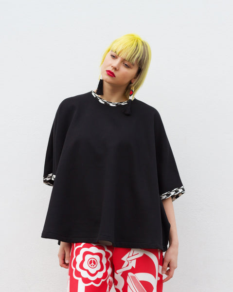 west carolina paris afternoon oversized black blouse top with check details