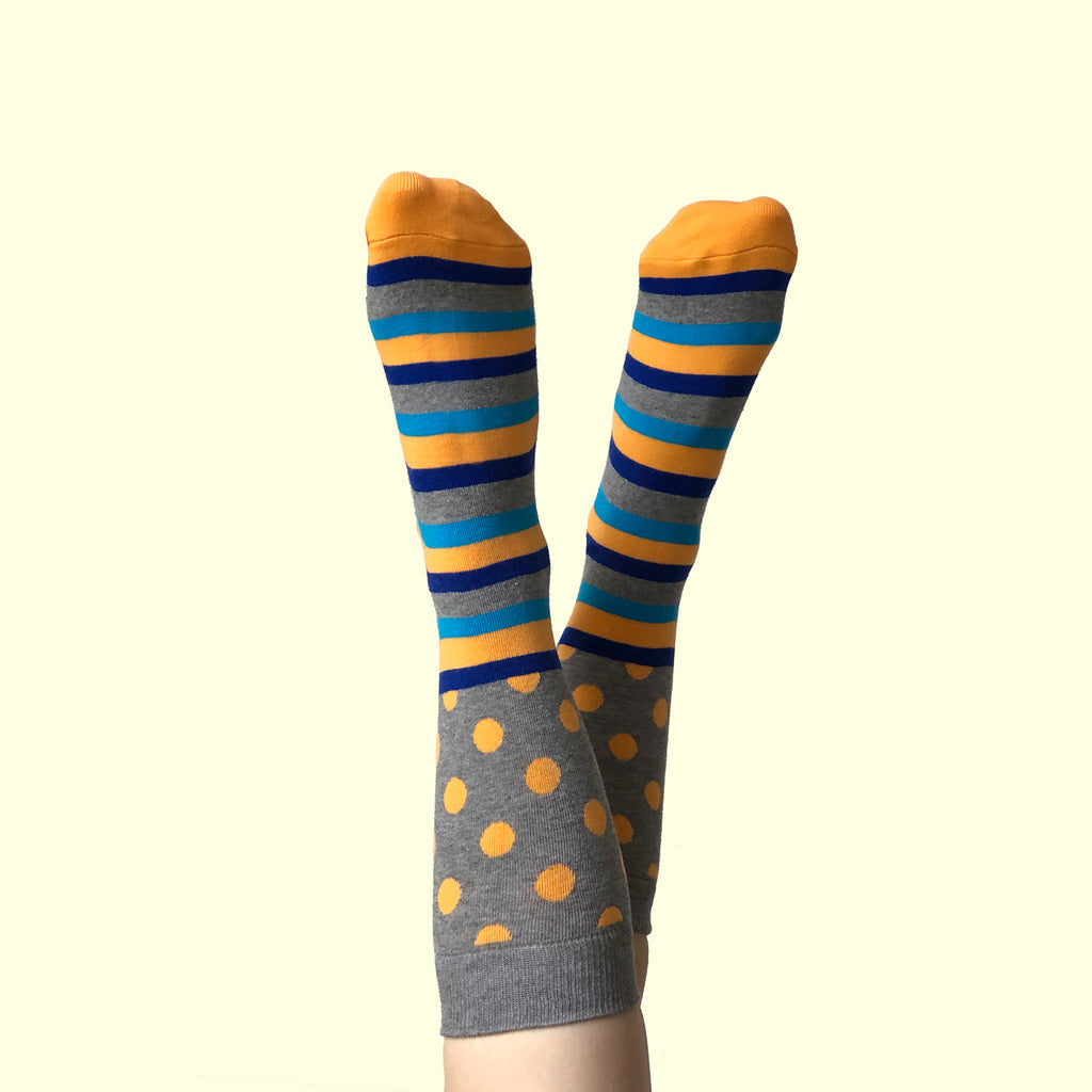 West Carolina Cute Orange Polka Dot Stripe Crew Socks Pattern Blue Fashion Cool Unisex