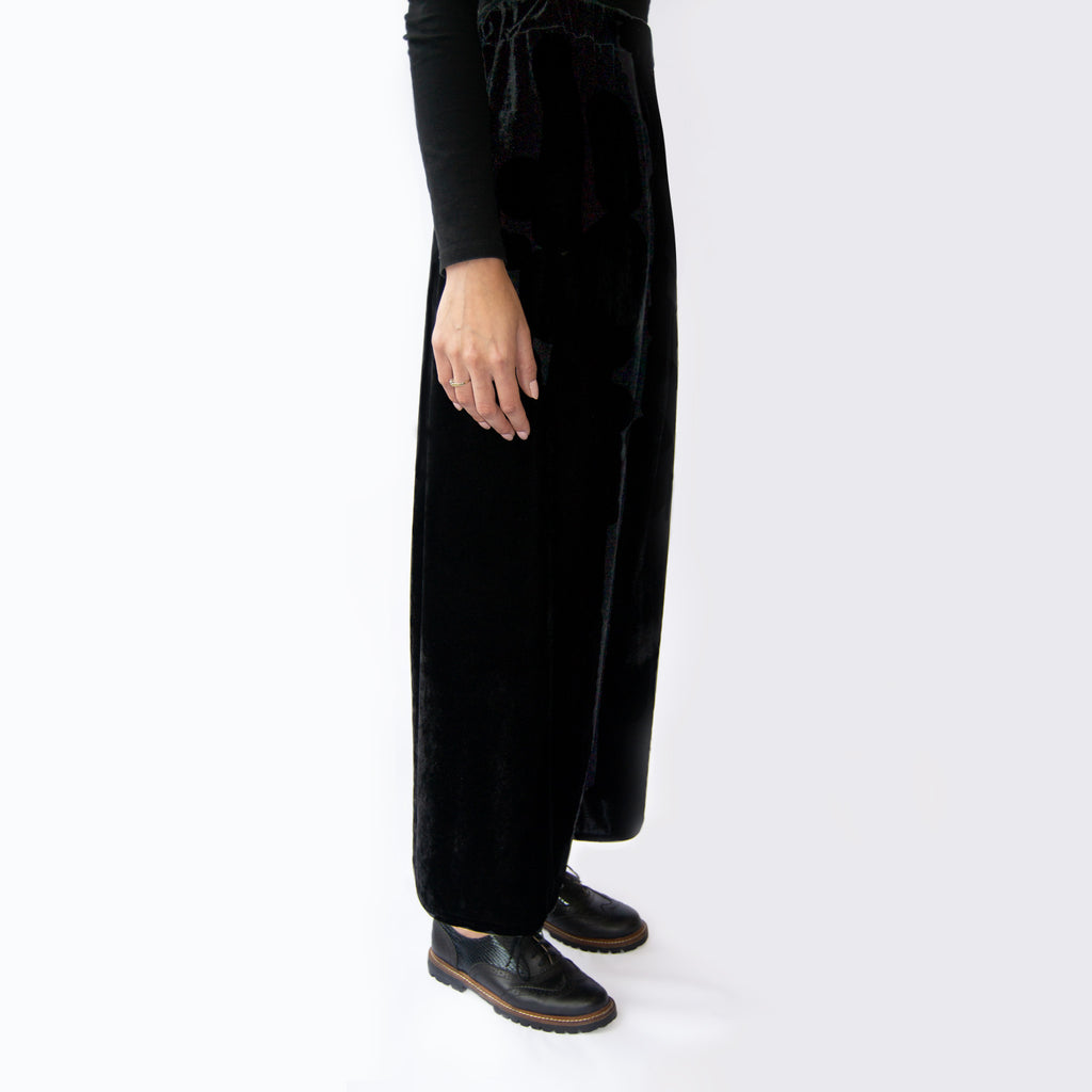 Black velvet trousers   Velvet Fabric High Waisted  Elasticated waist Loose fit