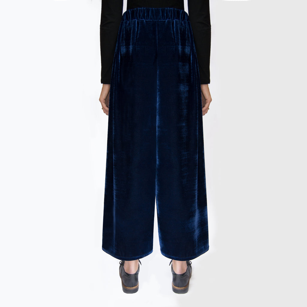 Blue velvet trousers   Velvet Fabric High Waisted Elasticated waist Loose fit