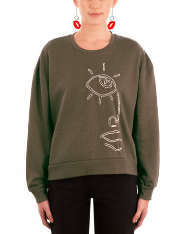 army green jumper white embroidery face eyes