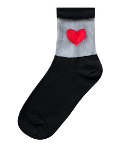 Mesh Sheer Transparent red heart black socks
