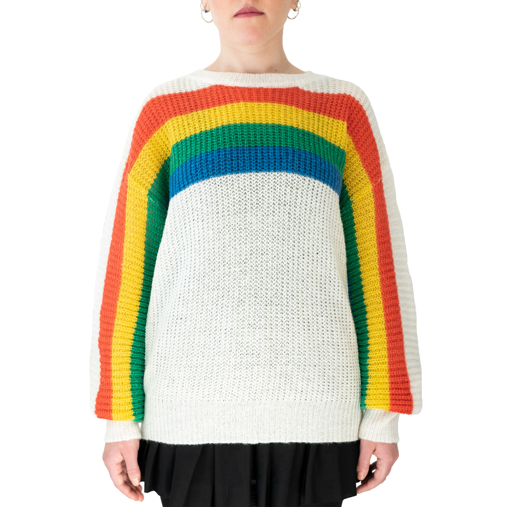 rainbow jumper white colourful stripes rainbow