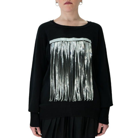 west Carolina black light on silver sequin fringe jumper