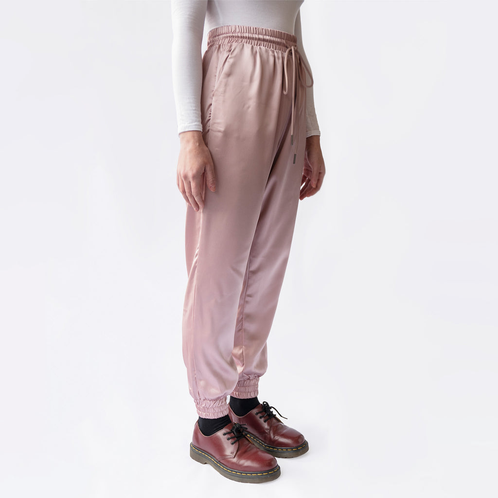 Satin Pink Manhattan Trousers joggers