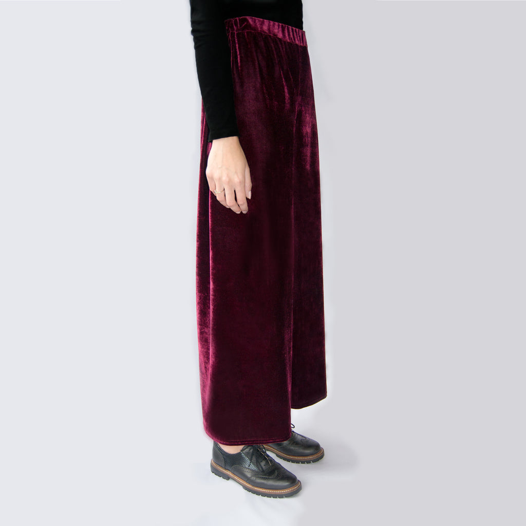 Red velvet trousers   Velvet Fabric High Waisted  Elasticated waist Loose fit