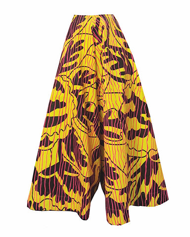 High waisted flared trousers with a yellow, black and pink print