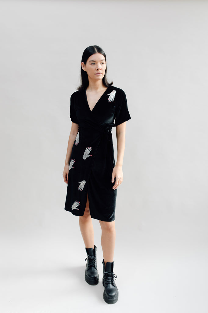 West Carolina black midi velvet wrap dress with side slit and sequin hand embellishments