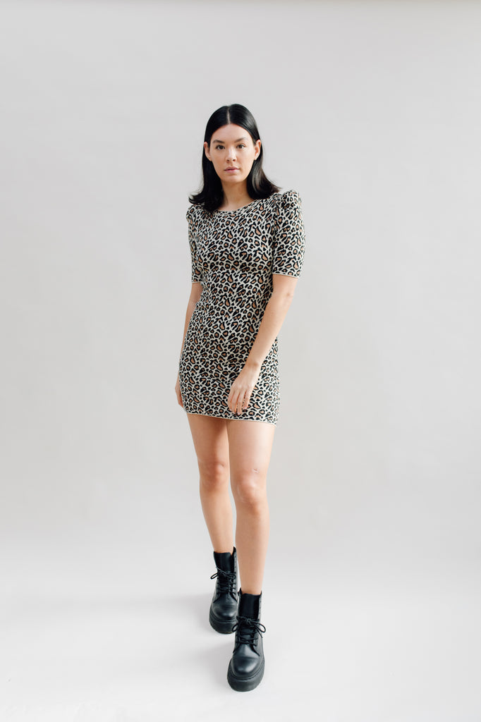 West Carolina Knitted Mini Leopard Print Dress with puff sleeves