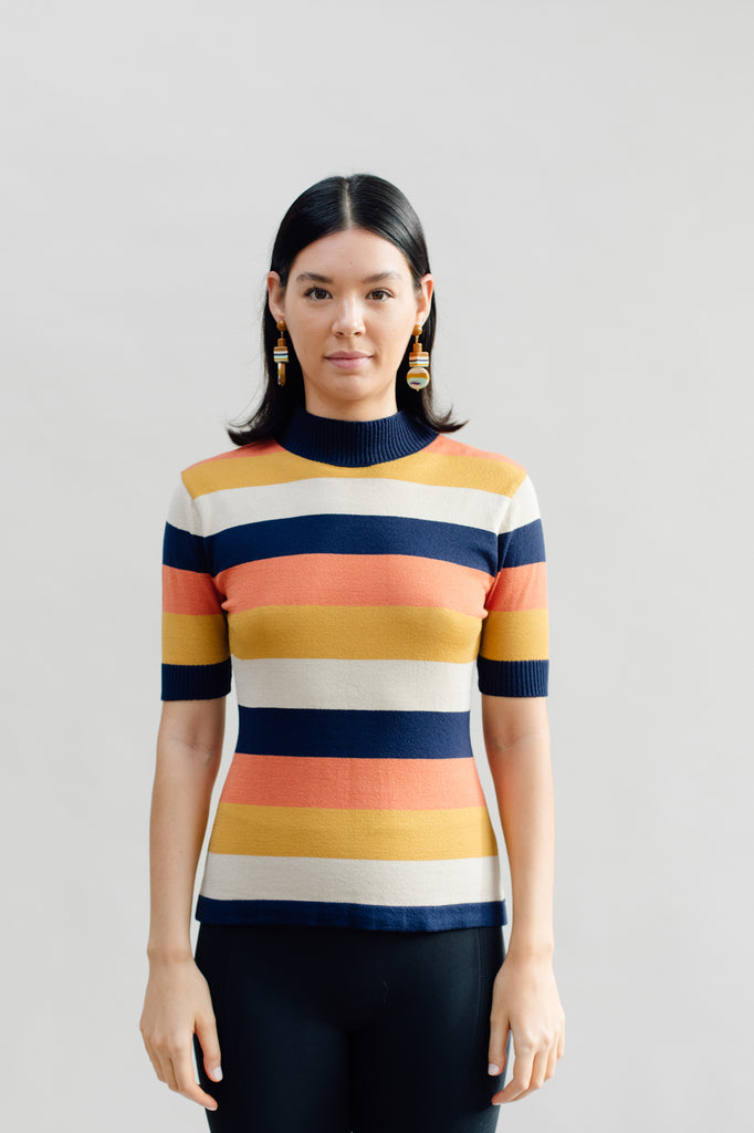 West Carolina High-neck Jumper Top with Coloured Stripes