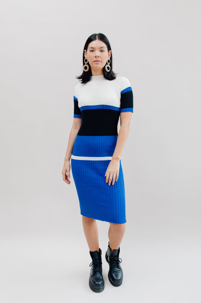 West Carolina Midi Knitted Dress in Blue