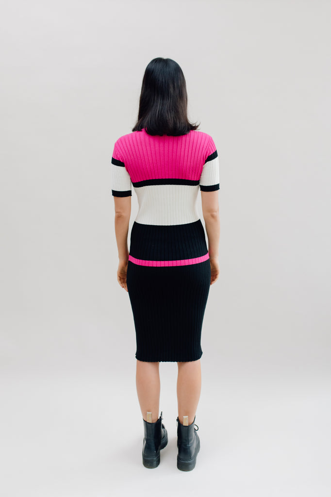 West Carolina Midi Knitted Dress in Pink and Black