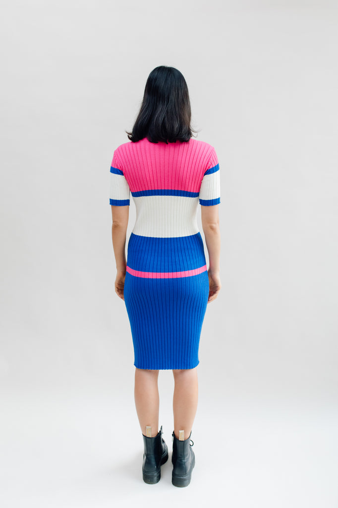 West Carolina Midi Knitted Dress in Pink and Blue
