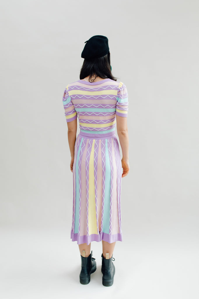 West Carolina Midi Knitted Pastel Co-ord puff sleeve top and skirt set