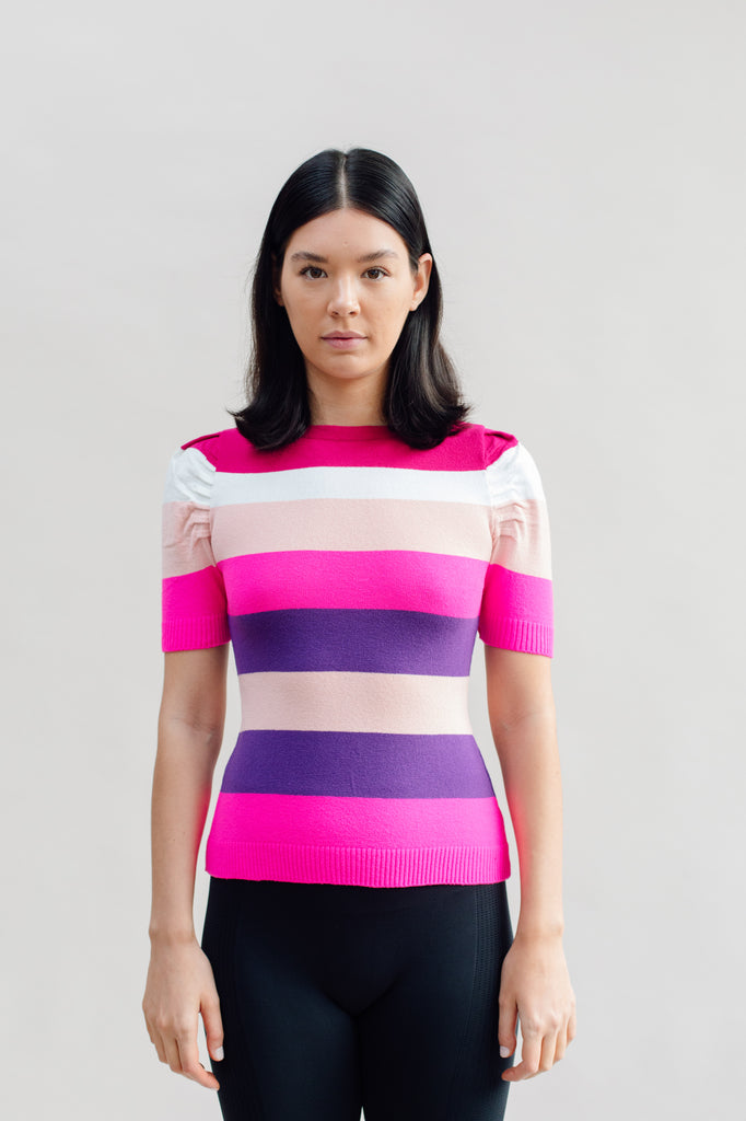 West Carolina Striped Jumper Top with Statement Puff Sleeves in Pink and Purple