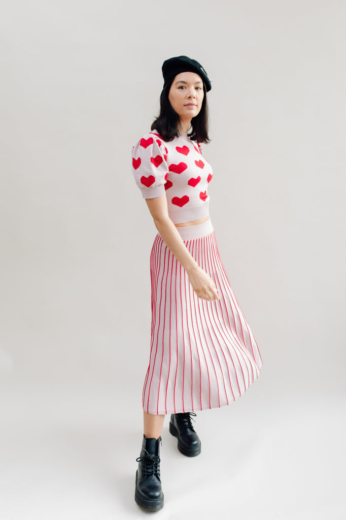 West Carolina Knitted Co-ord loungewear hearts top and striped skirt set