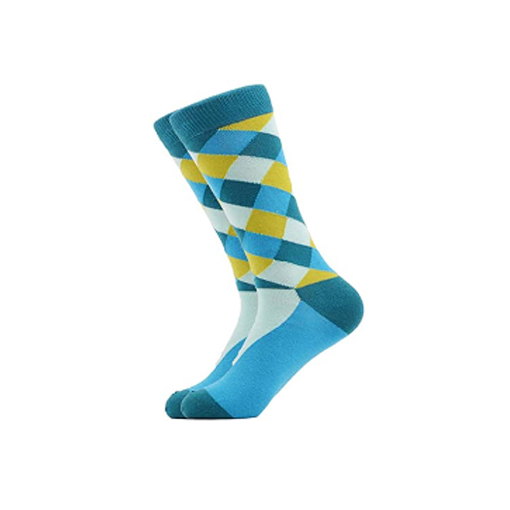 West Carolina Blue Diamond Geometric Argyle Crew Socks Pattern Fashion Cool Unisex