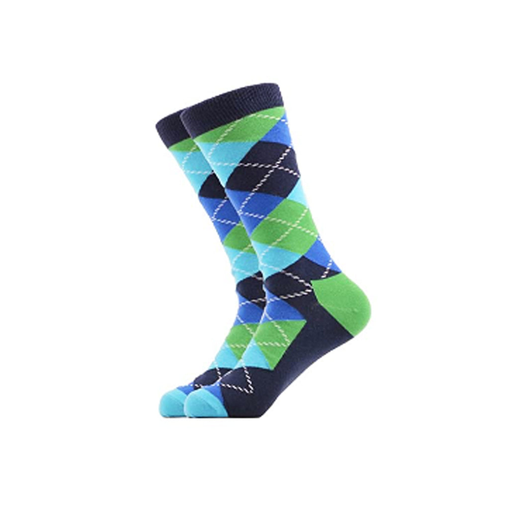 West Carolina Dark Blue Green Blue Cotton Crew Socks Fashion Cool Pattern Unisex Argyle Geometric