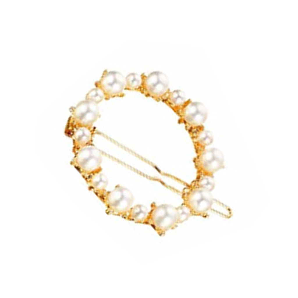 West Carolina Mini Faux Pearl Circle Embellished Hair Clips for Women Fashion Vintage Hairpins Single Set Gold Alloy Design Rhinestone