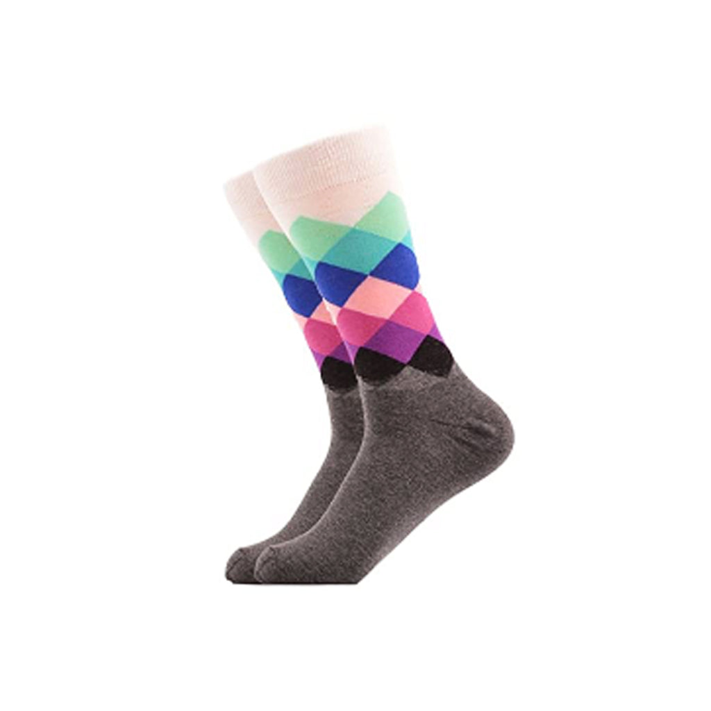 West Carolina Colour Cotton Green Blue Pink Diamond Argyle Crew Socks Fashion Cool Pattern Geometric Unisex
