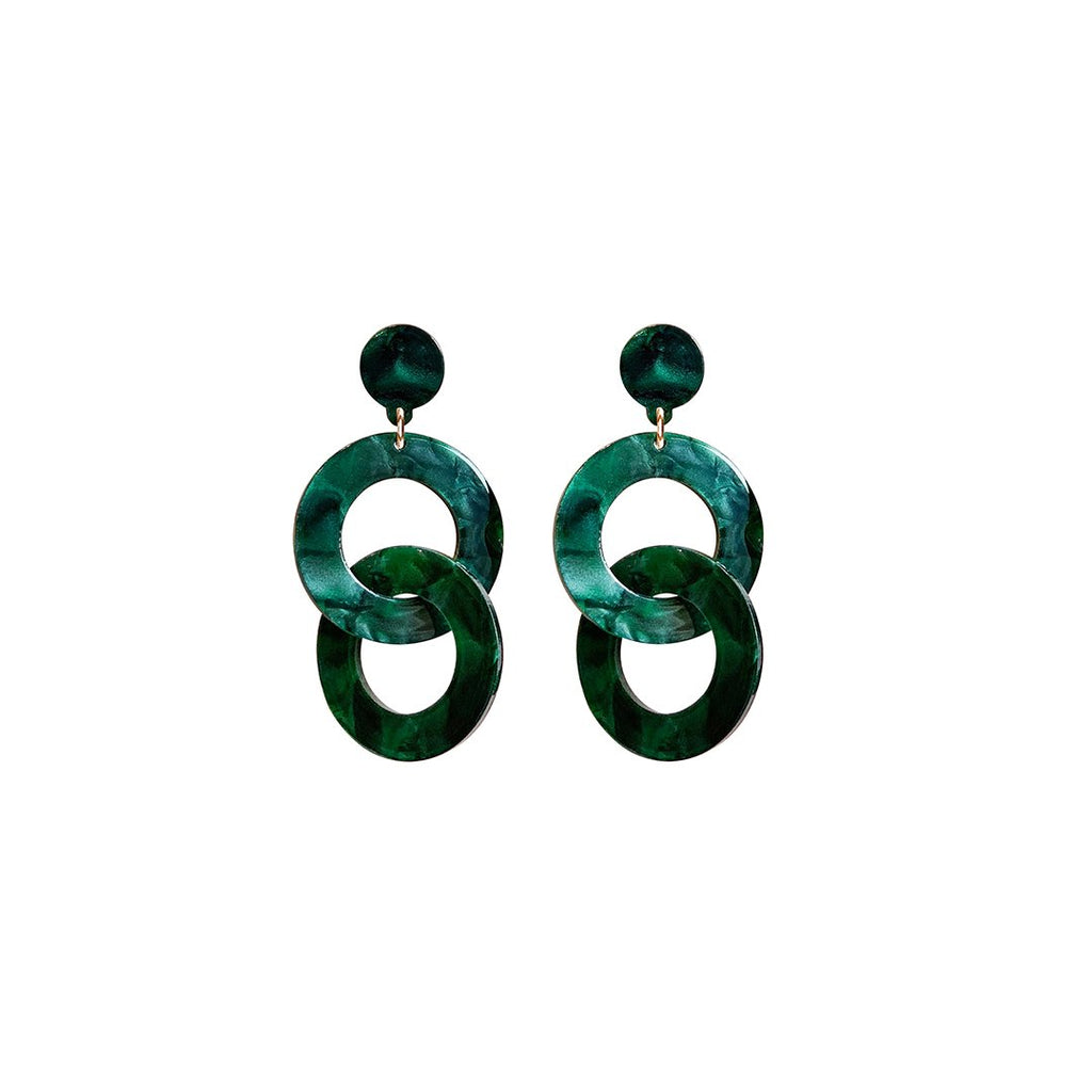 west carolina green hoop statement earrings made out of resin