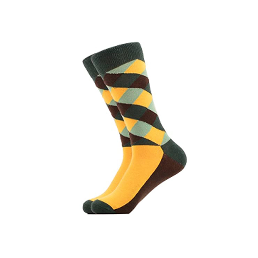 West Carolina Colour Green Yellow Brown Diamond Cotton Crew Socks Fashion Cool Geometric Unisex Argyle