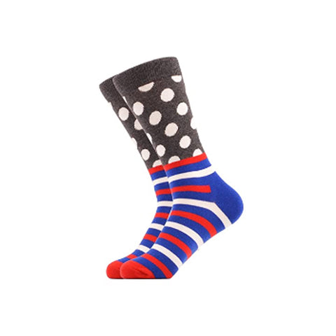 West Carolina Grey Polka Dot Blue Stripe Red White Pattern Fashion Cool Cotton Crew Socks Unisex