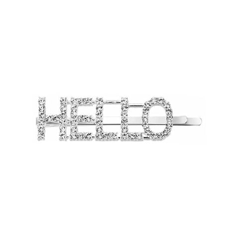 West Carolina HELLO Embellished Hair Clips for Women Fashion Vintage Hairpins Design Rhinestone Text Inspired Instagrammable Instagram