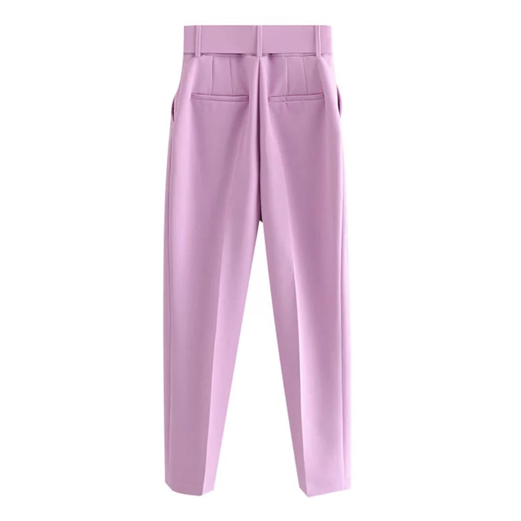 Back view of West Carolina Belted High Waisted Lilac Tailoring Trousers