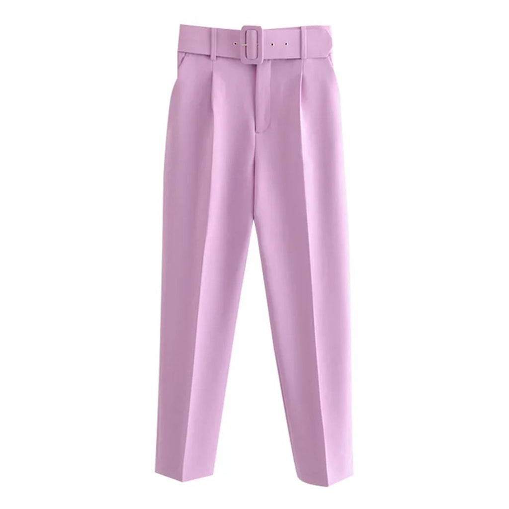 Front view of West Carolina Belted High Waisted Lilac Tailoring Trousers
