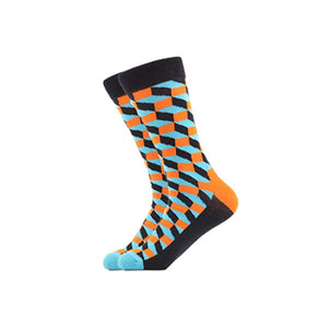 West Carolina 3D Cubes Cube Crew Socks Pattern Illusion Unisex Fashion Cool Orange