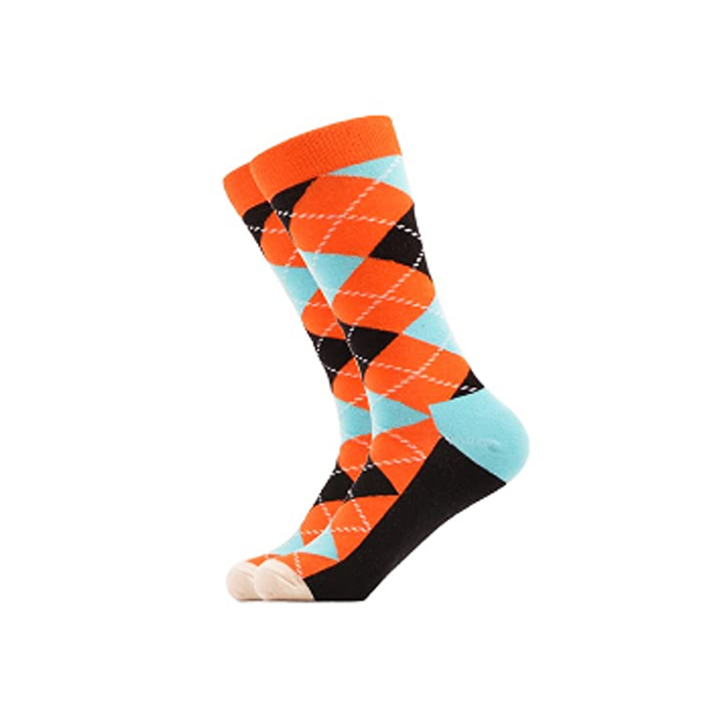 West Carolina Fashion Cool Geometric Argyle Crew Socks Orange Blue Unisex Pattern