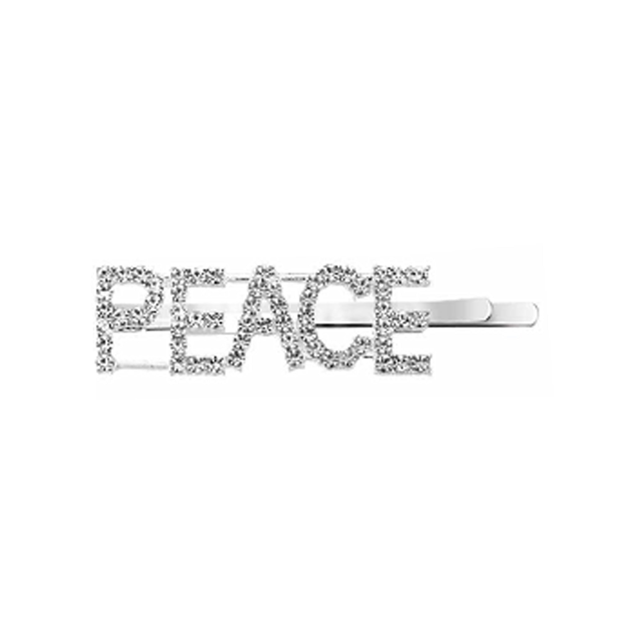West Carolina PEACE Embellished Hair Clips for Women Fashion Vintage Hairpins Rhinestone Text Inspired Instagrammable Instagram